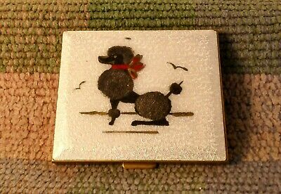 Vintage Compact hand painted poodle dog.