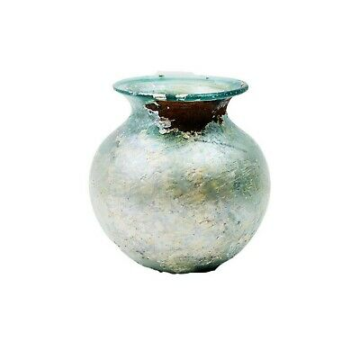 Large Ancient Roman iridescene Glass Jar c.2nd century AD. Size 7 1/2 inches H