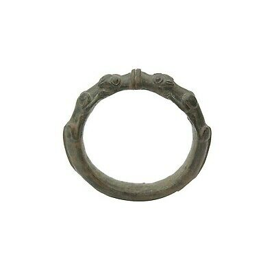 Ancient Luristan Bronze Bracelet with Lions c.1000 BC. Size 4 3/8 inches diam