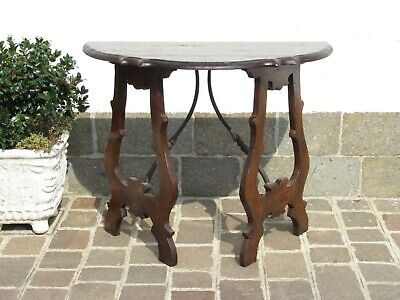 Important Console Rustic Fratino Wooden & Wrought Iron Xx Century