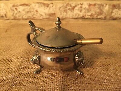 Antique EPNS Silver Plated Miniature Sugar Urn with Blue Glass Liner