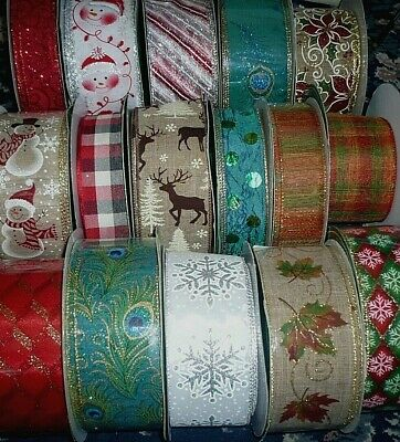 Luxury Kirkland Christmas Wired Ribbon Wire Edged Craft Decoration 11 Designs