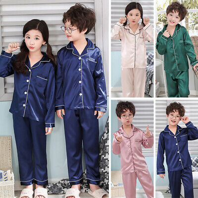 Girls Silk Pajamas Set Kids Children Plain Loungewear Sleepwear Nightwear 6-13Y
