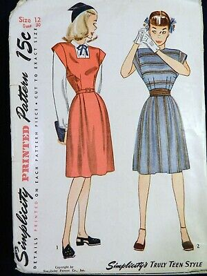 Vtg 1940s 1945 Simplicity 1547 Modest Day Blouse Dress Sewing PATTERN Teen 12
