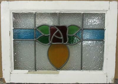 "OLD ENGLISH LEADED STAINED GLASS WINDOW Stunning Colorful Floral 20.25"" x 14.75"""