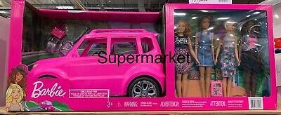 BRAND NEW Barbie Suv vehicle  4 dolls and luggage FAST DELIVERY UK SELLER
