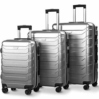 3PCS Luggage Set Expandable ABS Durable Suitcase w/Wheels TSA Lock Travel Gray