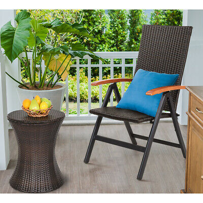 Astonishing Patio Folding Back Adjustable Aluminum Rattan Chair Lounge Gmtry Best Dining Table And Chair Ideas Images Gmtryco