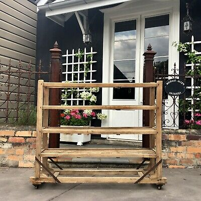 Scrubbed French Industrial Rack, Great Storage Piece, Shoe Clothing Shop Prop