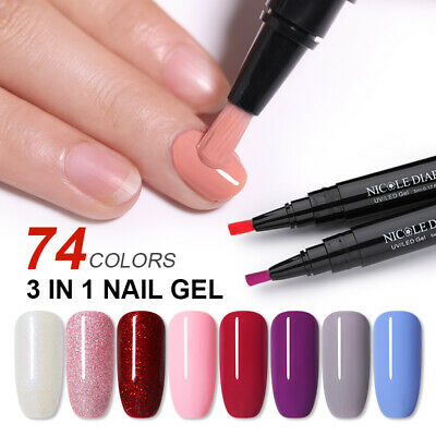 NICOLE DIARY 3 in 1 One Step UV Gel Nail Polish Brush Pen No Need Base Top Coat