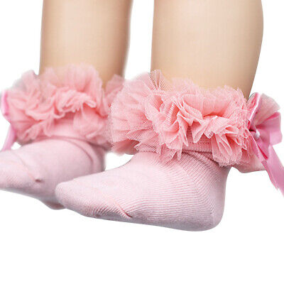 Kids Baby Girls Frilly Bow Lace Tutu Socks Infant Toddler Ankle Socks CY2