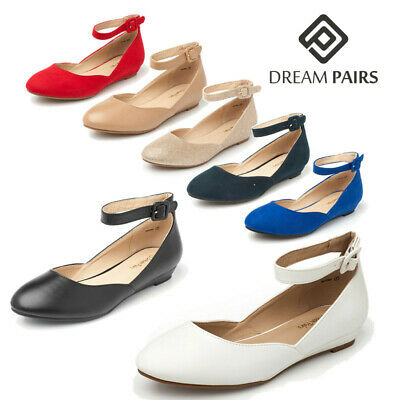 DREAM PAIRS Women Comfy Flats Low Wedge Ankle Strap Lady Dress Flat Shoes