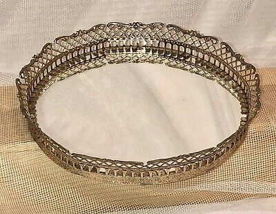 Round Vintage Vanity Dresser or Wall Tray Gold Toned Ornate Scroll Mirror 7.5""