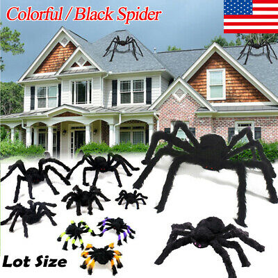 US Halloween Hanging Decor Giant Realistic Hairy Big Prop SPIDERS Decorations