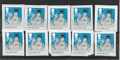 10 GB Unfranked 2nd class security Christmas stamps on paper.
