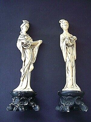 Vintage Pair of Female Oriental Chinese Resin Figures Statues ~24cm tall~102&103