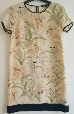 French Connection Womens 100% Silk Shift Dress Floral Lily Oriental Boho Size 8