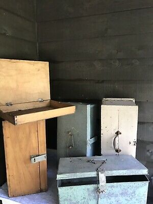 5 Vintage Large Boxes Trunks Chests Dynamite Box Ipswich Wood Tin Tools