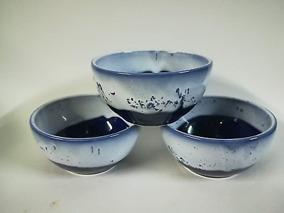 Set of 3 Bowls Glazed in Cobalt Blue with White Rim Ideal for Cereal Soup Fruit