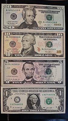 UNITED STATES $20 $10 $5 & $1 Dollar 2013 Rios/Lew USA US 4 UNC Banknote Set