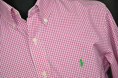 POLO RALPH LAUREN CUSTOM FIT CHECK SHIRT PINK MENS size M
