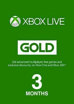 Xbox Live Gold Code XBOX LIVE 3 MONTHS GLOBAL