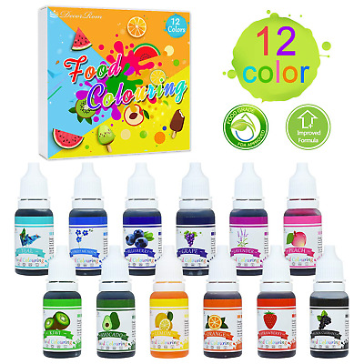 Food Colouring - 12 Colours x 10ml Food Dye Concentrated Liquid Cake Food Set -