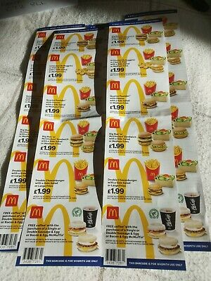 mcdonalds vouchers 5 strip 30 individual dated 10 November 2019