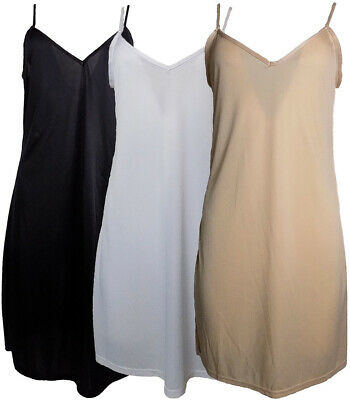 Ladies Full Knee Length V-Neck Slip Black Beige White Silky Feel Sizes 10-22