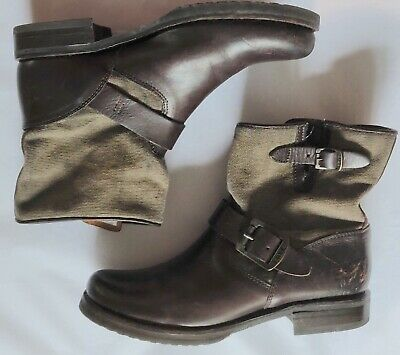 Frye Veronica women's Dark Brown Leather Olive Canvas Shortie Boots size 7B