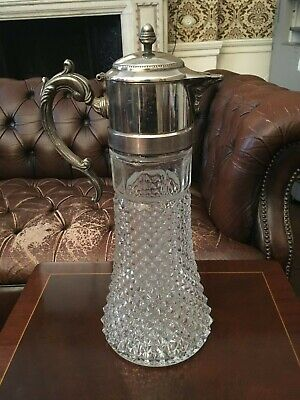 Georgian Style Crystal & Silver Plate Claret Jug Decanter WITH AN INSERT