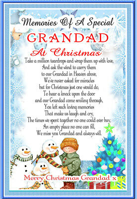 Christmas Grandad Memorial rememberance Graveside keepsake Card And Free Holder