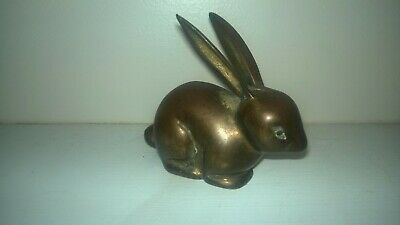 "Vintage Brass Bunny Rabbit Figurine 3"" patina decor figure metal paperweight"