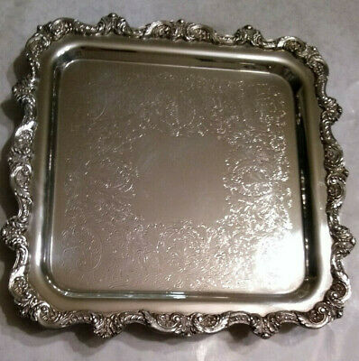 "OLD ENGLISH Poole 5914 Square Footed Tray 12"" Silverplate Server 12x12 9x9 EPNS"