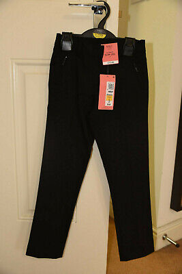 M&S Marks and Spencer - Girls Black School Trousers - age 6-7 Long - NEW BNWT