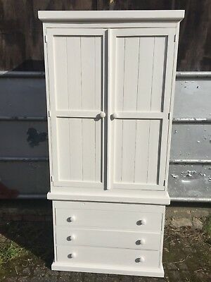 Painted Pine Wardrobe Cupboard with a Three Drawer Chest Below