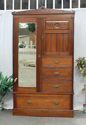 Edwardian Wardrobe With 4 Drawers Bevelled Mirror and Cupboard