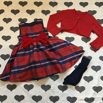 Mothercare 18-24 months girls Tartan Christmas Dress ,tights & Glitter Cardigan