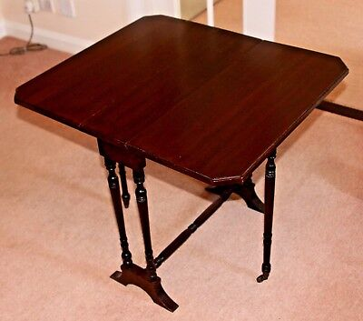 Antique Mahogany Drop Leaf Side Occasional Table