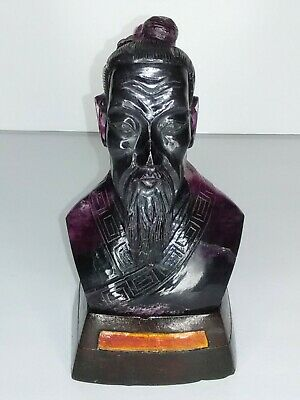 Chinese Natural Amethyst Quartz Carved Qu Yuan Bust & Hardwood Stand