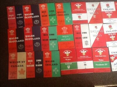 30 X Welsh International Rugby Union Programmes 60s/70s/80s/90s/2000s