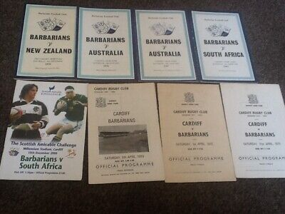 8 X BARBARIANS RUGBY UNION PROGAMMES 1960s/1970s.