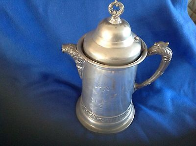 Antique Pitcher M S Benedict Manufactoring Co Quadruple Plate Antique Tankard