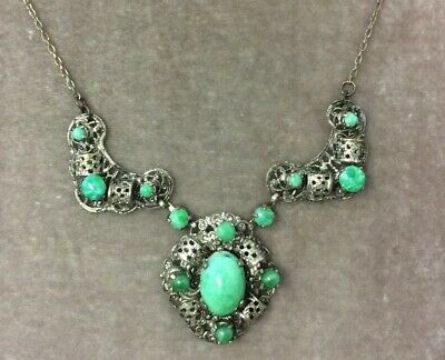 Vintage Art Deco Czech Jewellery Gorgeous peking Glass pendant panel necklace