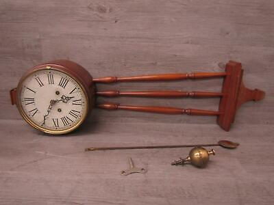 * Vintage Colonial Mfg Co Banjo Wall Clock Chimes Work As Is