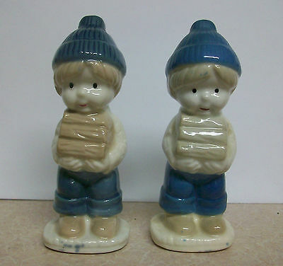 Cute Little Boy in Blue Hat & Coveralls Carrying Books Figure Figurine Lot of 2