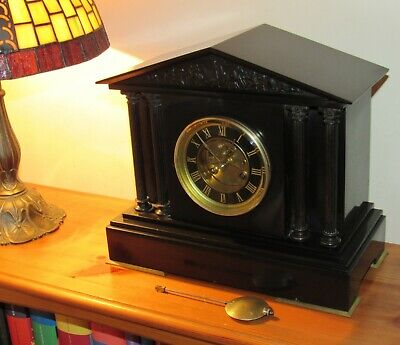 Superb Victorian S. Marti Slate/Marble Mantle Clock With Visible Escapement