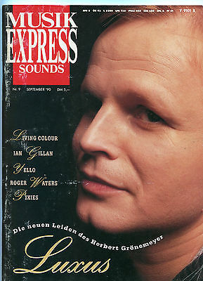 MUSIKEXPRESS SOUNDS Nr.9 SEPTEMBER 1990 IAN GILLAN,YELLO,ROGER WATERS,PIXIES