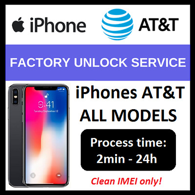 FACTORY UNLOCK CODE SERVICE FOR AT&T ATT APPLE IPHONE X 8 7 6s 6 5s 5 4s 4 IMEI