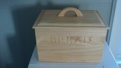 """BREAD""  Box & Lid Engraved Natural Color Wood Kitchen Decor"